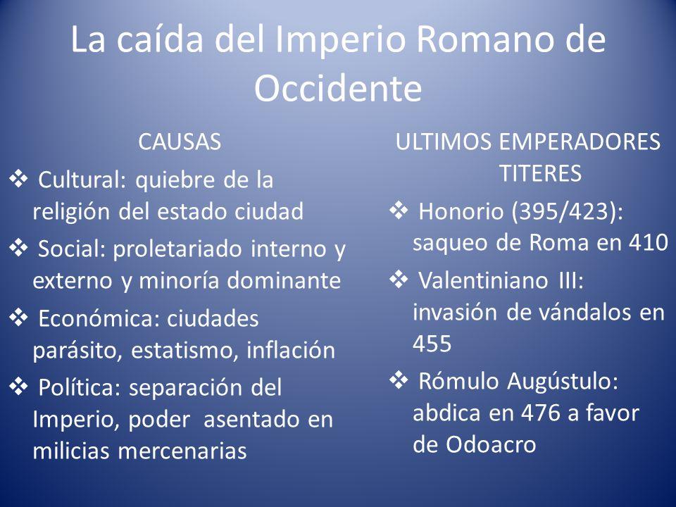 La caída del Imperio Romano de Occidente CAUSAS Cultural: quiebre de la religión del estado ciudad Social: proletariado interno y externo y minoría do