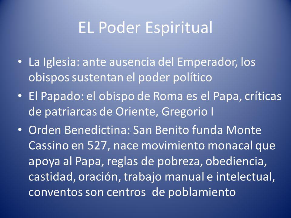EL Poder Espiritual La Iglesia: ante ausencia del Emperador, los obispos sustentan el poder político El Papado: el obispo de Roma es el Papa, críticas