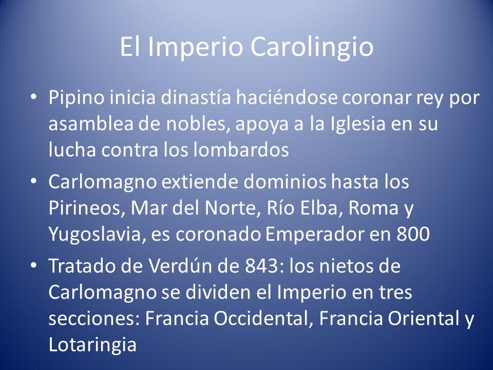 El Imperio Carolingio Pipino inicia dinastía haciéndose coronar rey por asamblea de nobles, apoya a la Iglesia en su lucha contra los lombardos Carlom