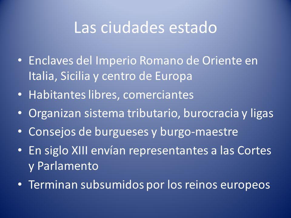 Las ciudades estado Enclaves del Imperio Romano de Oriente en Italia, Sicilia y centro de Europa Habitantes libres, comerciantes Organizan sistema tri