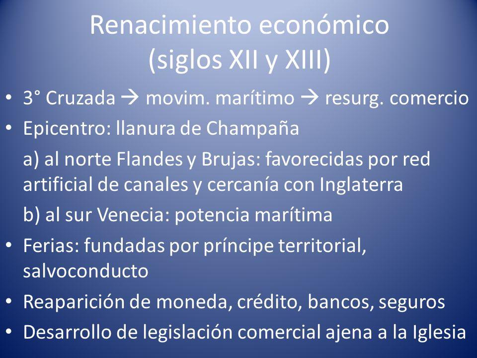 Renacimiento económico (siglos XII y XIII) 3° Cruzada movim. marítimo resurg. comercio Epicentro: llanura de Champaña a) al norte Flandes y Brujas: fa