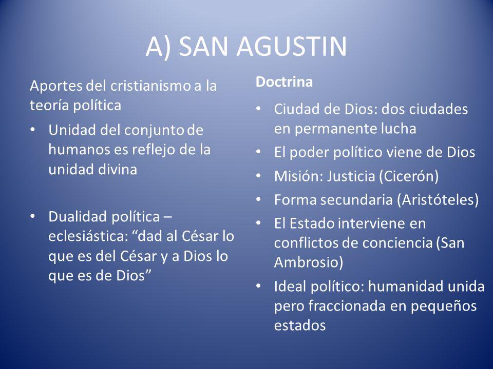 A) SAN AGUSTIN Aportes del cristianismo a la teoría política Unidad del conjunto de humanos es reflejo de la unidad divina Dualidad política – eclesiá