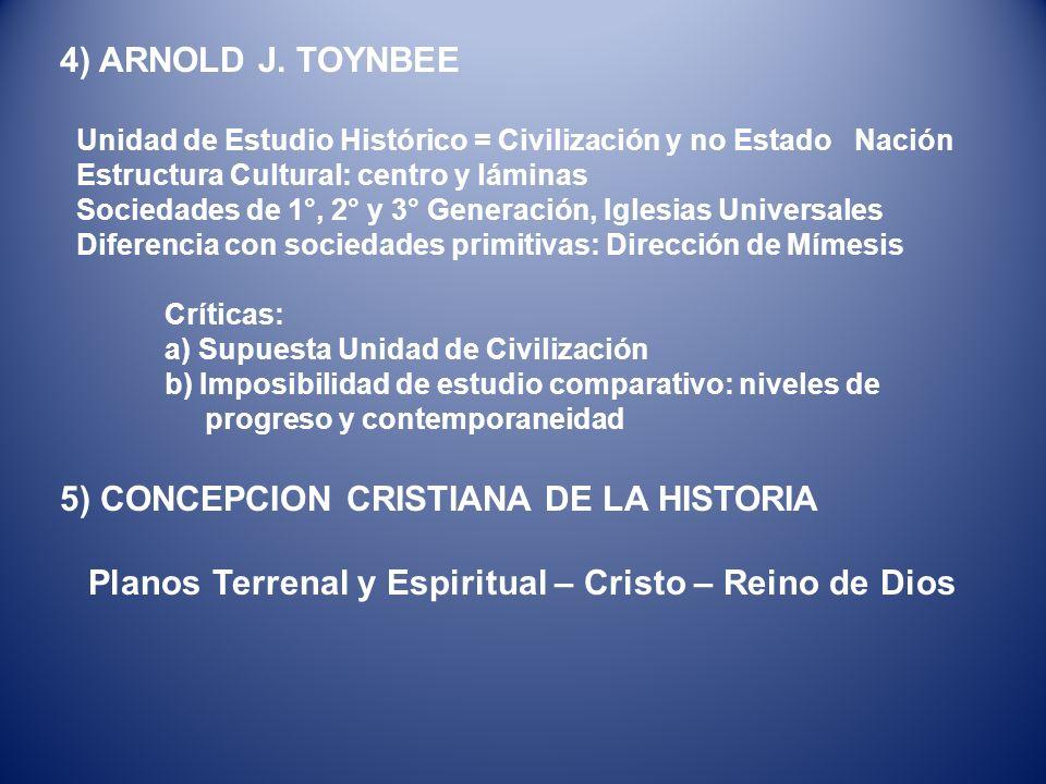 4) ARNOLD J. TOYNBEE Unidad de Estudio Histórico = Civilización y no Estado Nación Estructura Cultural: centro y láminas Sociedades de 1°, 2° y 3° Gen
