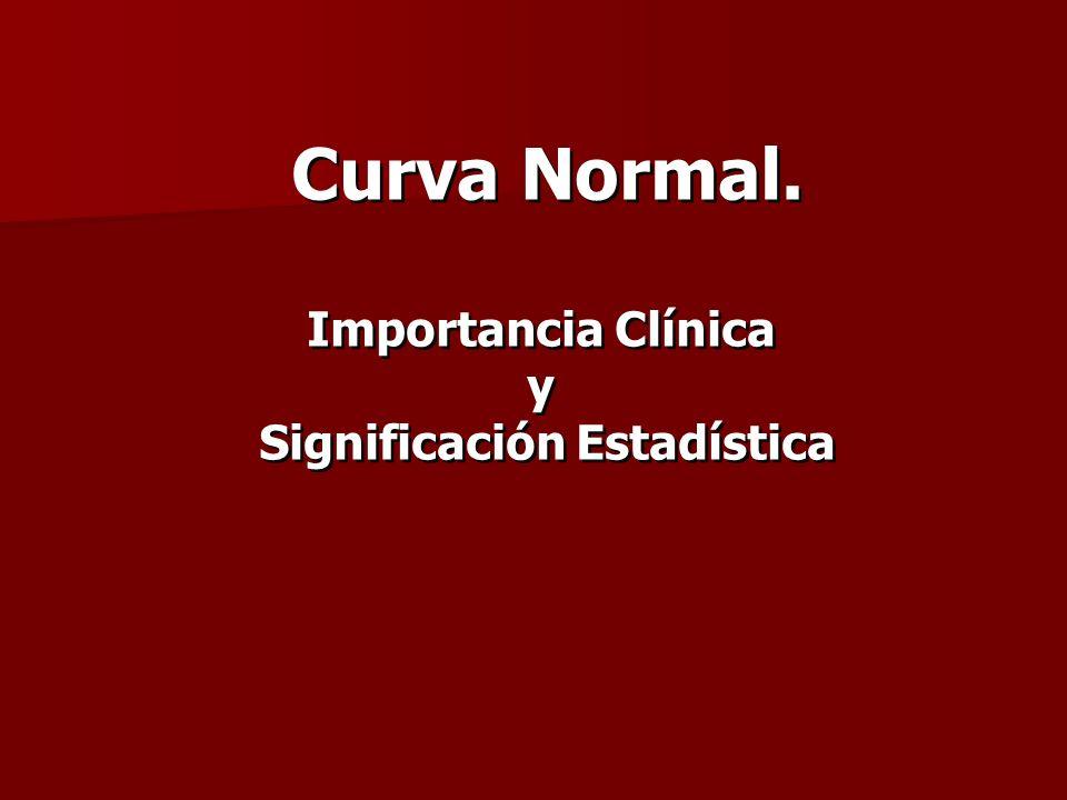 Curva Normal. Importancia Clínica y Significación Estadística Curva Normal. Importancia Clínica y Significación Estadística