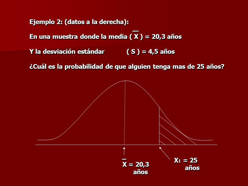 Ejemplo 2: (datos a la derecha): En una muestra donde la media ( X ) = 20,3 años Y la desviación estándar ( S ) = 4,5 años ¿Cuál es la probabilidad de