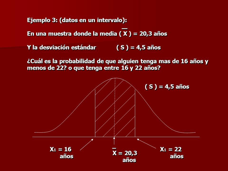 Ejemplo 3: (datos en un intervalo): En una muestra donde la media ( X ) = 20,3 años Y la desviación estándar ( S ) = 4,5 años ¿Cuál es la probabilidad
