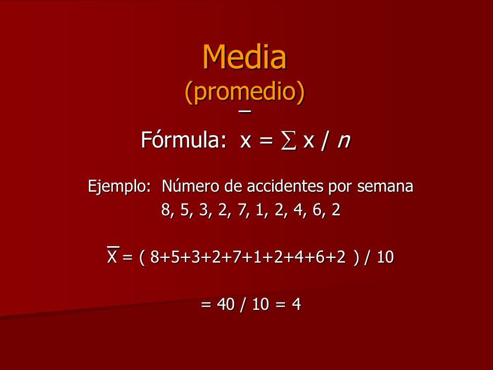Media (promedio) Fórmula: x = x / n Ejemplo: Número de accidentes por semana 8, 5, 3, 2, 7, 1, 2, 4, 6, 2 X = ( 8+5+3+2+7+1+2+4+6+2 ) / 10 = 40 / 10 =