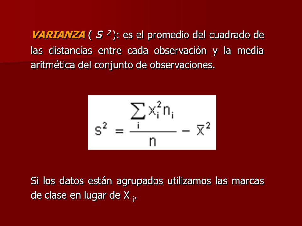 VARIANZA ( s 2 ): es el promedio del cuadrado de las distancias entre cada observación y la media aritmética del conjunto de observaciones. Si los dat