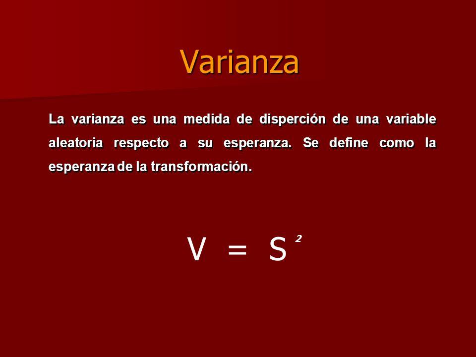 Varianza V = S 2 La varianza es una medida de disperción de una variable aleatoria respecto a su esperanza. Se define como la esperanza de la transfor