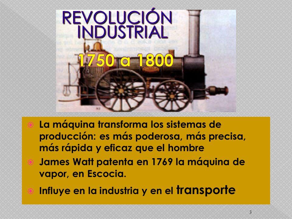 3 La máquina transforma los sistemas de producción: es más poderosa, más precisa, más rápida y eficaz que el hombre James Watt patenta en 1769 la máqu