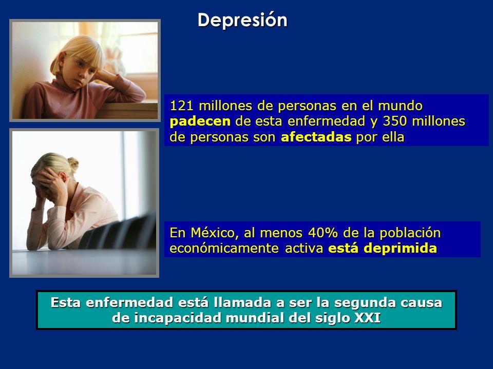 Depresión Esta enfermedad está llamada a ser la segunda causa de incapacidad mundial del siglo XXI 121 millones de personas en el mundo padecen de est