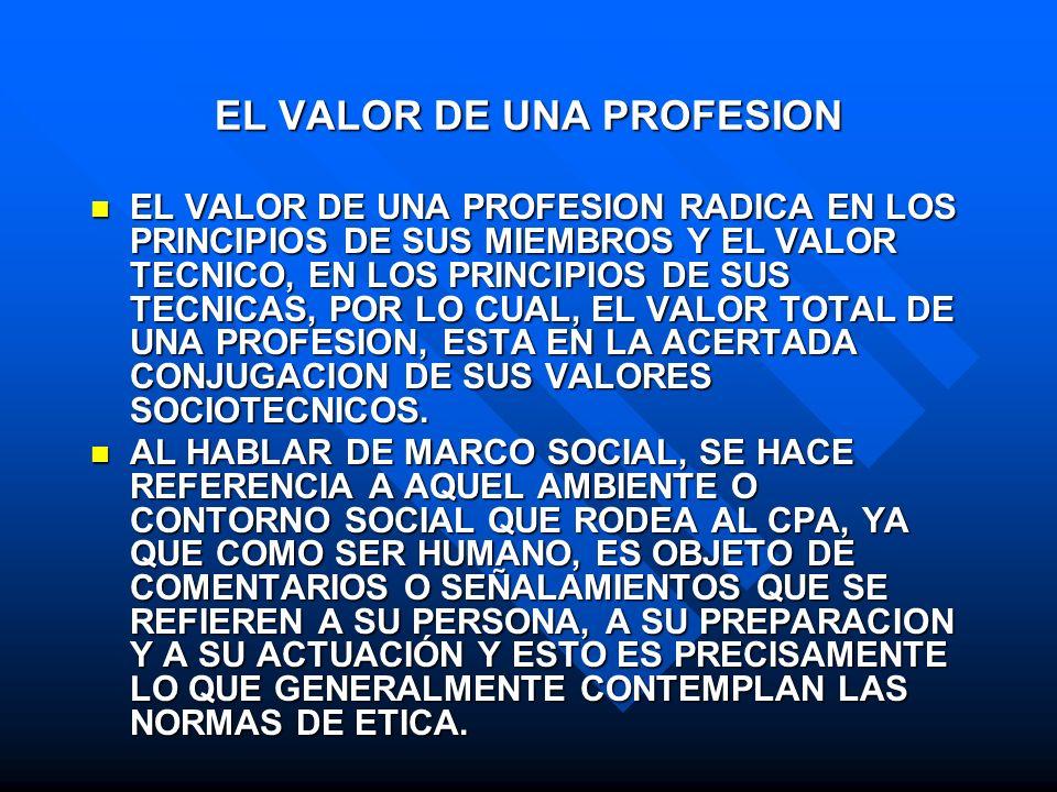 EL VALOR DE UNA PROFESION EL VALOR DE UNA PROFESION RADICA EN LOS PRINCIPIOS DE SUS MIEMBROS Y EL VALOR TECNICO, EN LOS PRINCIPIOS DE SUS TECNICAS, PO