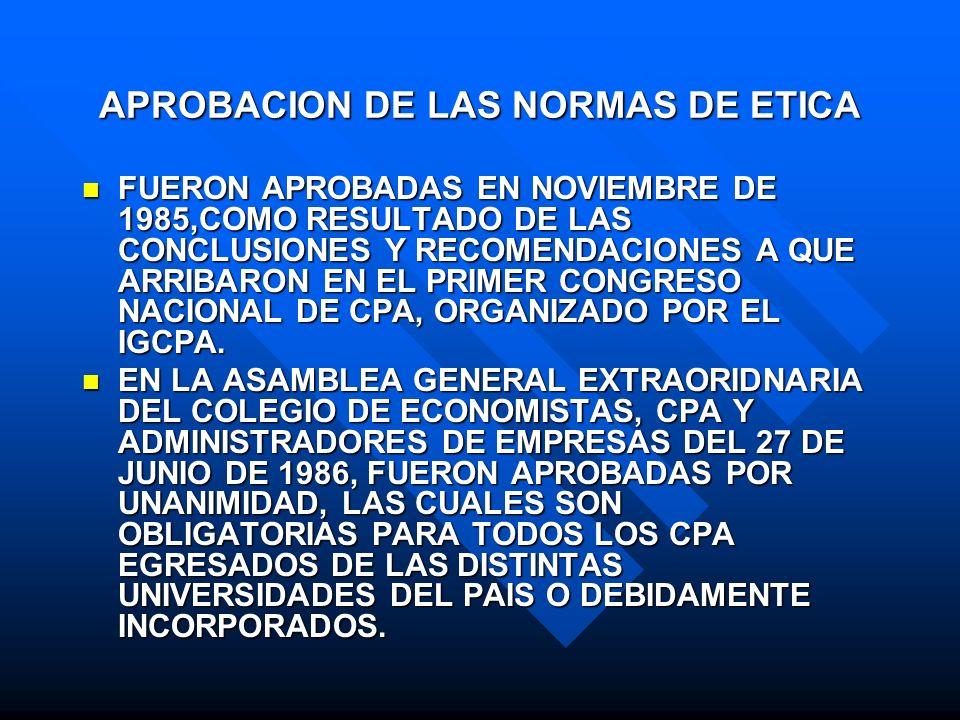 APROBACION DE LAS NORMAS DE ETICA FUERON APROBADAS EN NOVIEMBRE DE 1985,COMO RESULTADO DE LAS CONCLUSIONES Y RECOMENDACIONES A QUE ARRIBARON EN EL PRI