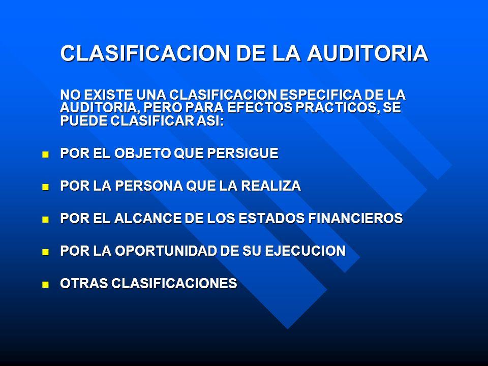 CLASIFICACION DE LA AUDITORIA NO EXISTE UNA CLASIFICACION ESPECIFICA DE LA AUDITORIA, PERO PARA EFECTOS PRACTICOS, SE PUEDE CLASIFICAR ASI: POR EL OBJ