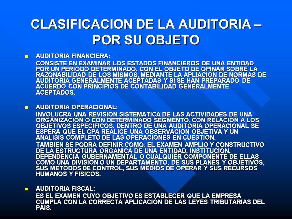 CLASIFICACION DE LA AUDITORIA – POR SU OBJETO AUDITORIA FINANCIERA: AUDITORIA FINANCIERA: CONSISTE EN EXAMINAR LOS ESTADOS FINANCIEROS DE UNA ENTIDAD
