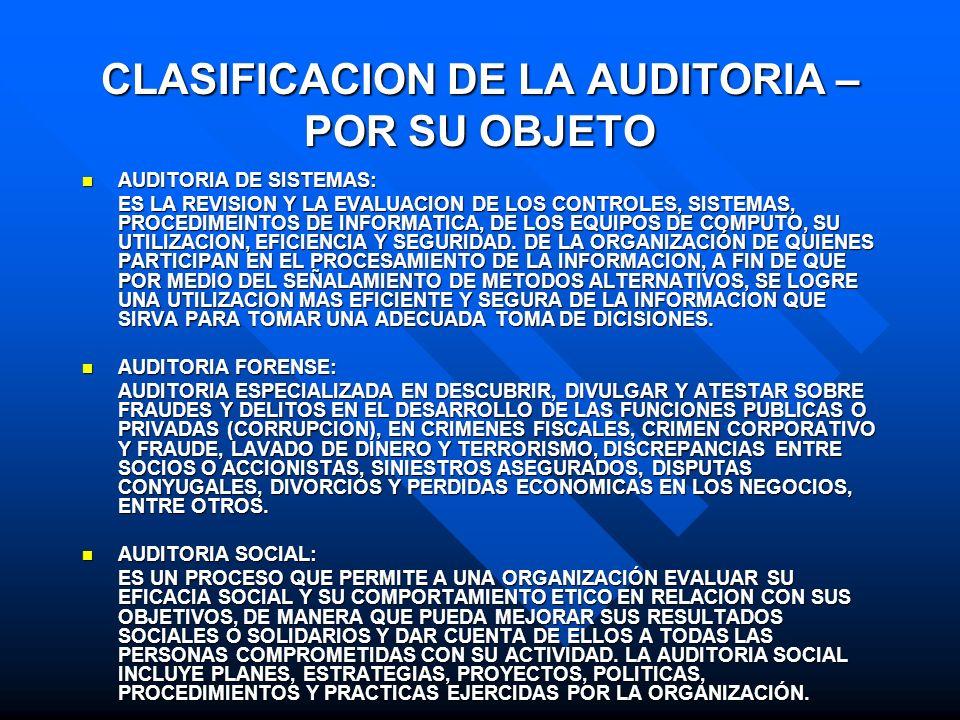CLASIFICACION DE LA AUDITORIA – POR SU OBJETO AUDITORIA DE SISTEMAS: AUDITORIA DE SISTEMAS: ES LA REVISION Y LA EVALUACION DE LOS CONTROLES, SISTEMAS,