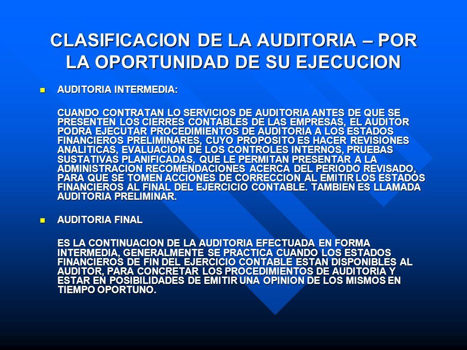 CLASIFICACION DE LA AUDITORIA – POR LA OPORTUNIDAD DE SU EJECUCION AUDITORIA INTERMEDIA: AUDITORIA INTERMEDIA: CUANDO CONTRATAN LO SERVICIOS DE AUDITO