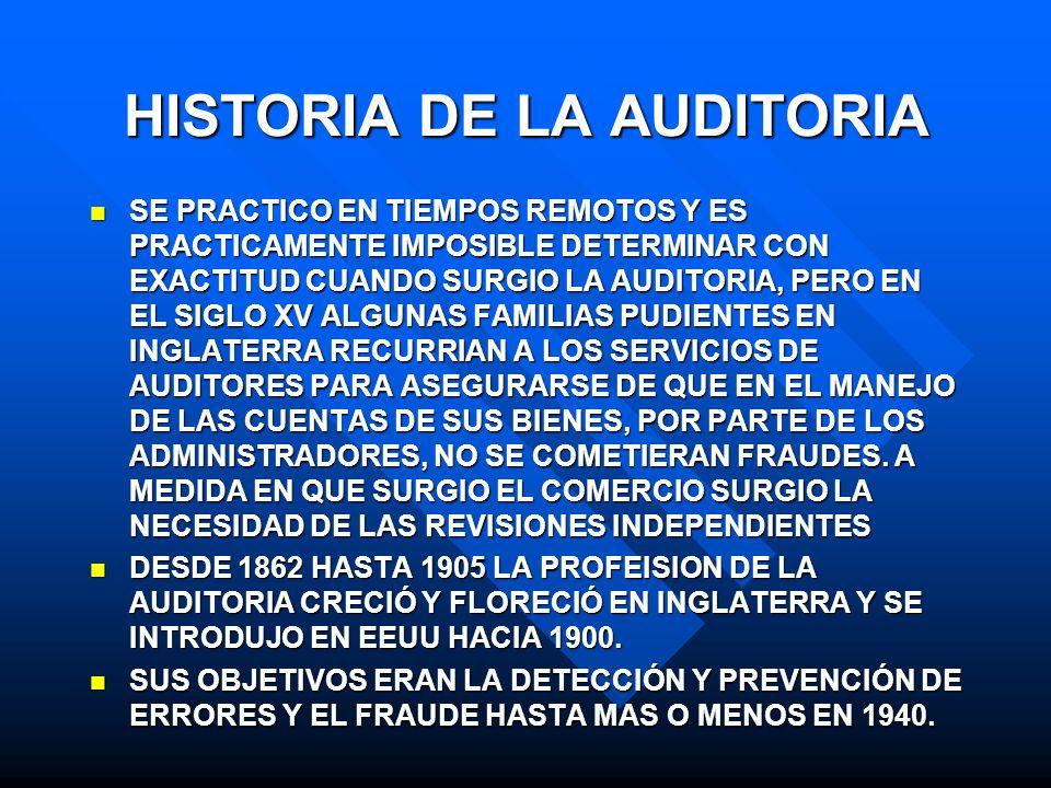 HISTORIA DE LA AUDITORIA SE PRACTICO EN TIEMPOS REMOTOS Y ES PRACTICAMENTE IMPOSIBLE DETERMINAR CON EXACTITUD CUANDO SURGIO LA AUDITORIA, PERO EN EL S