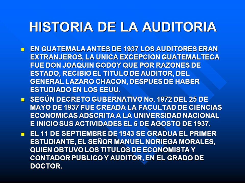 HISTORIA DE LA AUDITORIA EN GUATEMALA ANTES DE 1937 LOS AUDITORES ERAN EXTRANJEROS, LA UNICA EXCEPCION GUATEMALTECA FUE DON JOAQUIN GODOY QUE POR RAZO