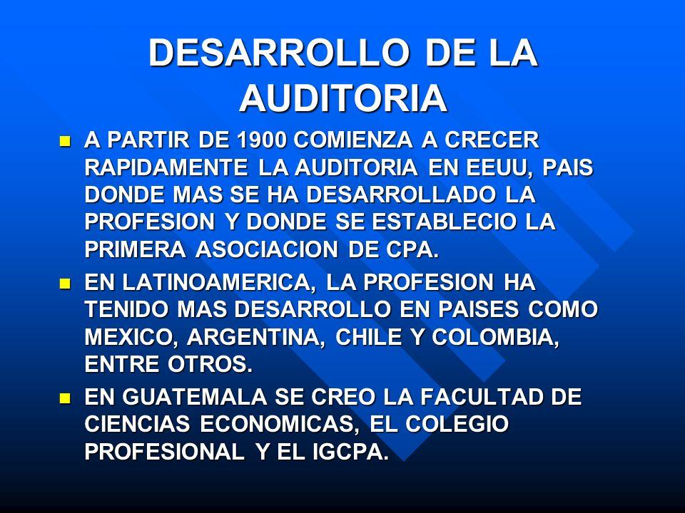 DESARROLLO DE LA AUDITORIA A PARTIR DE 1900 COMIENZA A CRECER RAPIDAMENTE LA AUDITORIA EN EEUU, PAIS DONDE MAS SE HA DESARROLLADO LA PROFESION Y DONDE