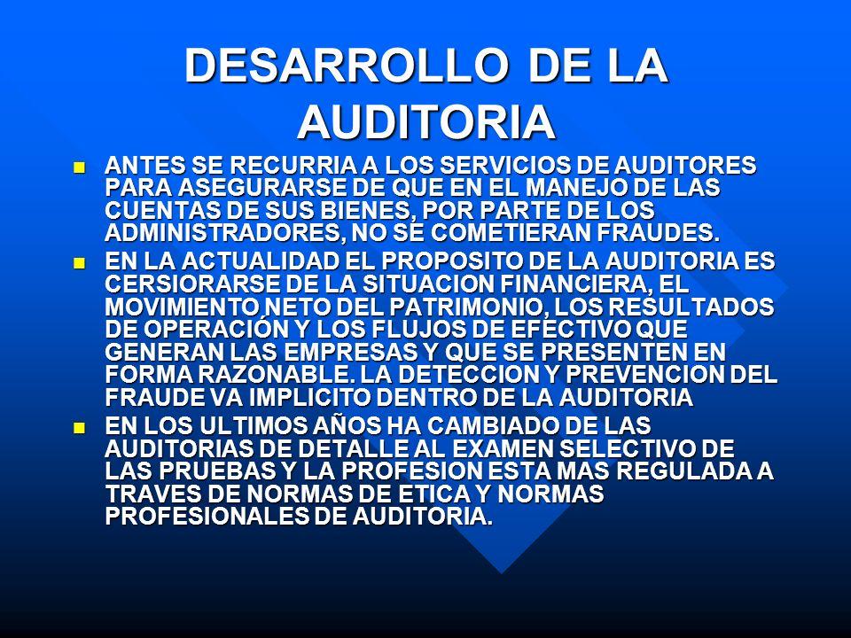 DESARROLLO DE LA AUDITORIA ANTES SE RECURRIA A LOS SERVICIOS DE AUDITORES PARA ASEGURARSE DE QUE EN EL MANEJO DE LAS CUENTAS DE SUS BIENES, POR PARTE