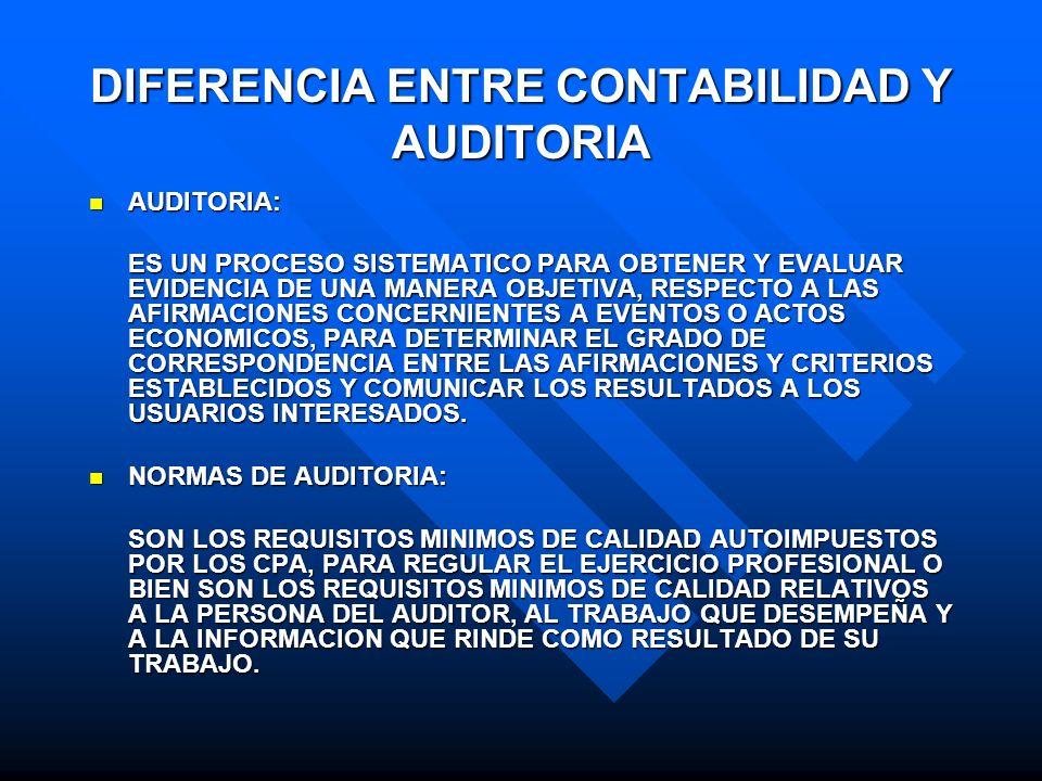 DIFERENCIA ENTRE CONTABILIDAD Y AUDITORIA AUDITORIA: AUDITORIA: ES UN PROCESO SISTEMATICO PARA OBTENER Y EVALUAR EVIDENCIA DE UNA MANERA OBJETIVA, RES