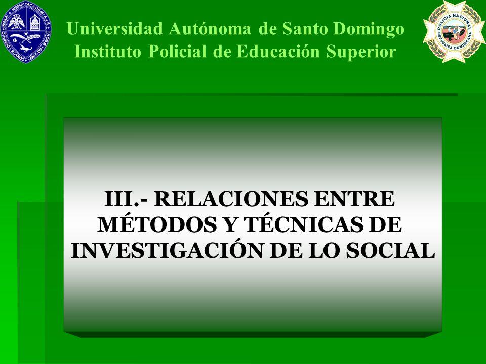 III.- RELACIONES ENTRE MÉTODOS Y TÉCNICAS DE INVESTIGACIÓN DE LO SOCIAL Universidad Autónoma de Santo Domingo Instituto Policial de Educación Superior