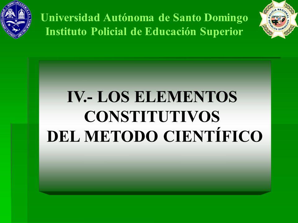IV.- LOS ELEMENTOS CONSTITUTIVOS DEL METODO CIENTÍFICO Universidad Autónoma de Santo Domingo Instituto Policial de Educación Superior
