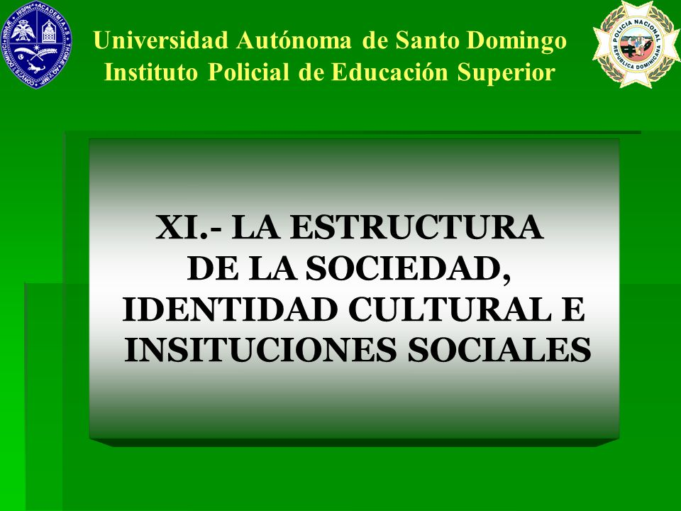 XI.- LA ESTRUCTURA DE LA SOCIEDAD, IDENTIDAD CULTURAL E INSITUCIONES SOCIALES Universidad Autónoma de Santo Domingo Instituto Policial de Educación Su