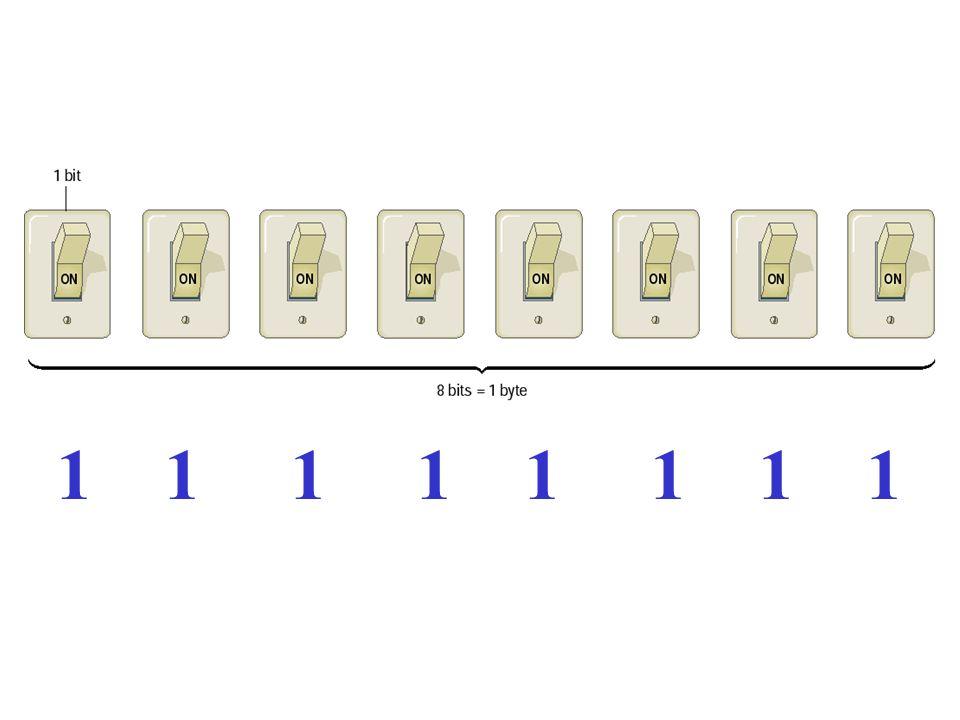 Una unidad sencilla de datos es llamado bit, teniendo un valor de 1 o 0. Las computadoras trabajan con la colecciones de bits, juntándolos para repres