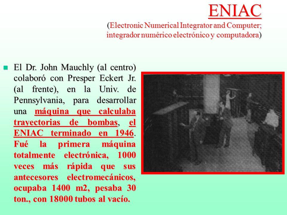 MARK I computadora electromecánica patrocinada por IBM n En 1944, el profesor Howard Aiken, de la Harvard University, completó la primera computadora