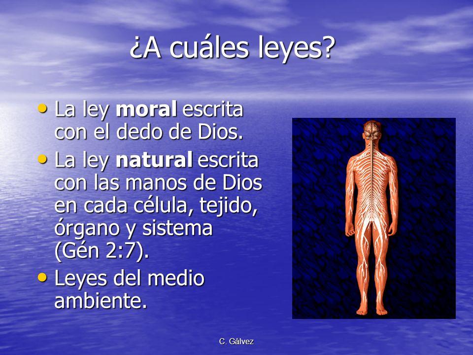C. Gálvez Salud y enfermedad La salud es la recompensa a la obediencia de las leyes de Dios. La salud es la recompensa a la obediencia de las leyes de