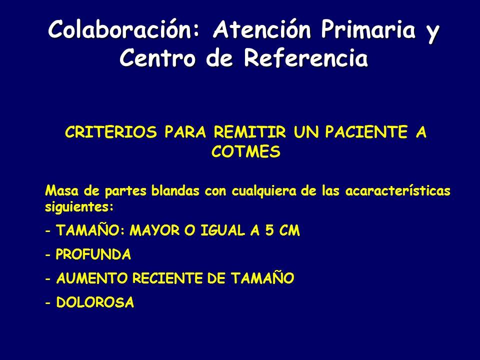 METODOLOGÍA - FASE I: INFORMACIÓN A CENTROS DE SALUD - FASE II: -PERIODO DE RECLUTAMIENTO (3 AÑOS) -BIOPSIA EN COTMES -REUNIÓN CADA 6 MESES PRIMARIA-COTMES - FASE III: -ANÁLISIS DE RESULTADOS Colaboración: Atención Primaria y Centro de Referencia