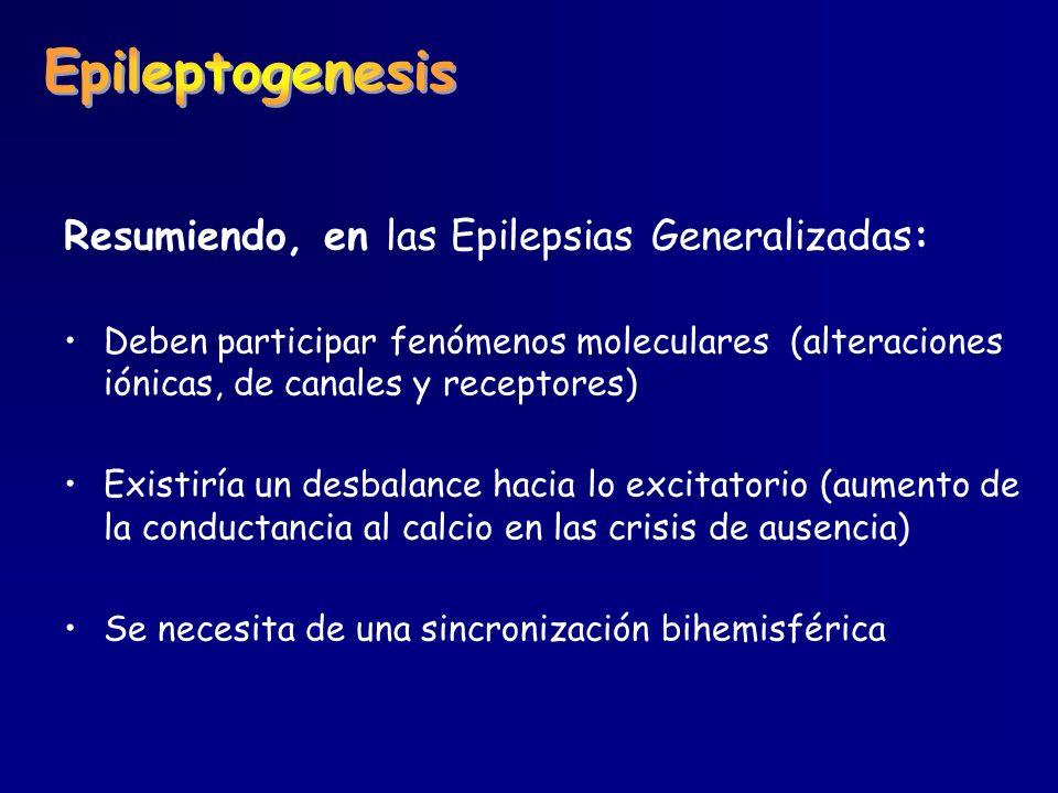 Resumiendo, en las Epilepsias Generalizadas: Deben participar fenómenos moleculares (alteraciones iónicas, de canales y receptores) Existiría un desba