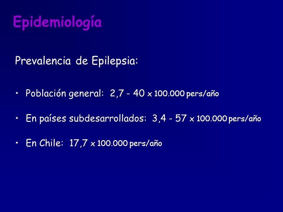 Epidemiología Prevalencia de Epilepsia: Población general: 2,7 - 40 x 100.000 pers/año En países subdesarrollados: 3,4 - 57 x 100.000 pers/año En Chil