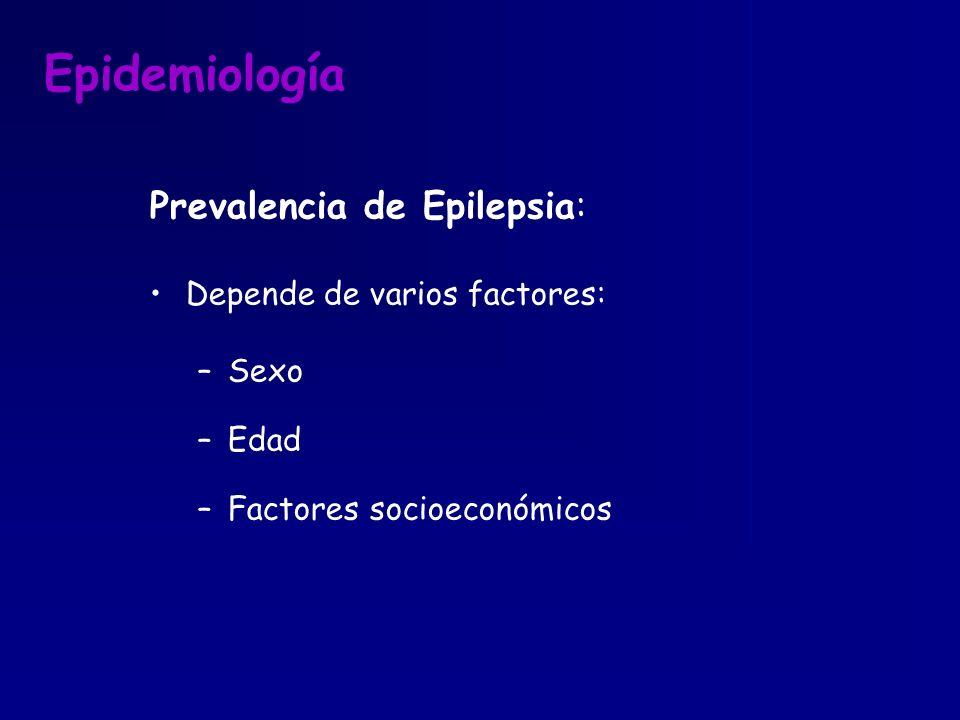 Epidemiología Prevalencia de Epilepsia: Depende de varios factores: –Sexo –Edad –Factores socioeconómicos