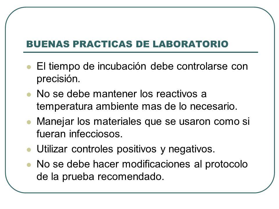 BUENAS PRACTICAS DE LABORATORIO El tiempo de incubación debe controlarse con precisión. No se debe mantener los reactivos a temperatura ambiente mas d