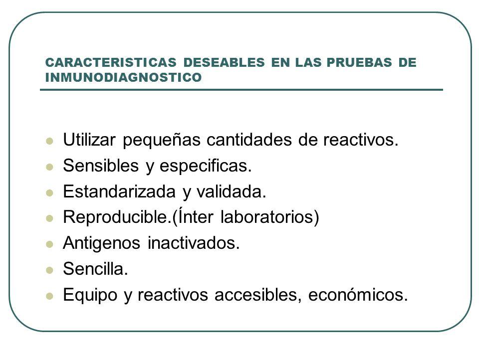 CARACTERISTICAS DESEABLES EN LAS PRUEBAS DE INMUNODIAGNOSTICO Utilizar pequeñas cantidades de reactivos. Sensibles y especificas. Estandarizada y vali
