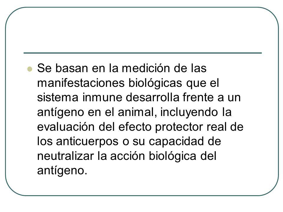 Se basan en la medición de las manifestaciones biológicas que el sistema inmune desarrolla frente a un antígeno en el animal, incluyendo la evaluación