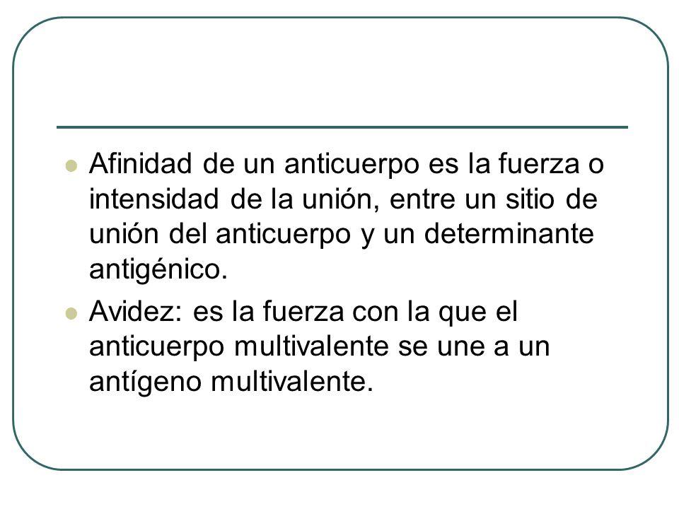Afinidad de un anticuerpo es la fuerza o intensidad de la unión, entre un sitio de unión del anticuerpo y un determinante antigénico. Avidez: es la fu