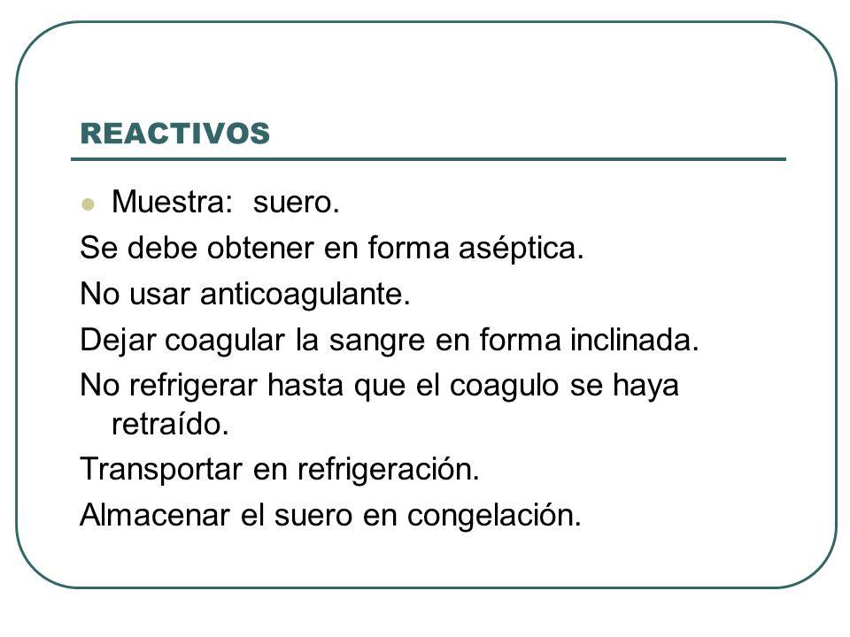 REACTIVOS Muestra: suero. Se debe obtener en forma aséptica. No usar anticoagulante. Dejar coagular la sangre en forma inclinada. No refrigerar hasta