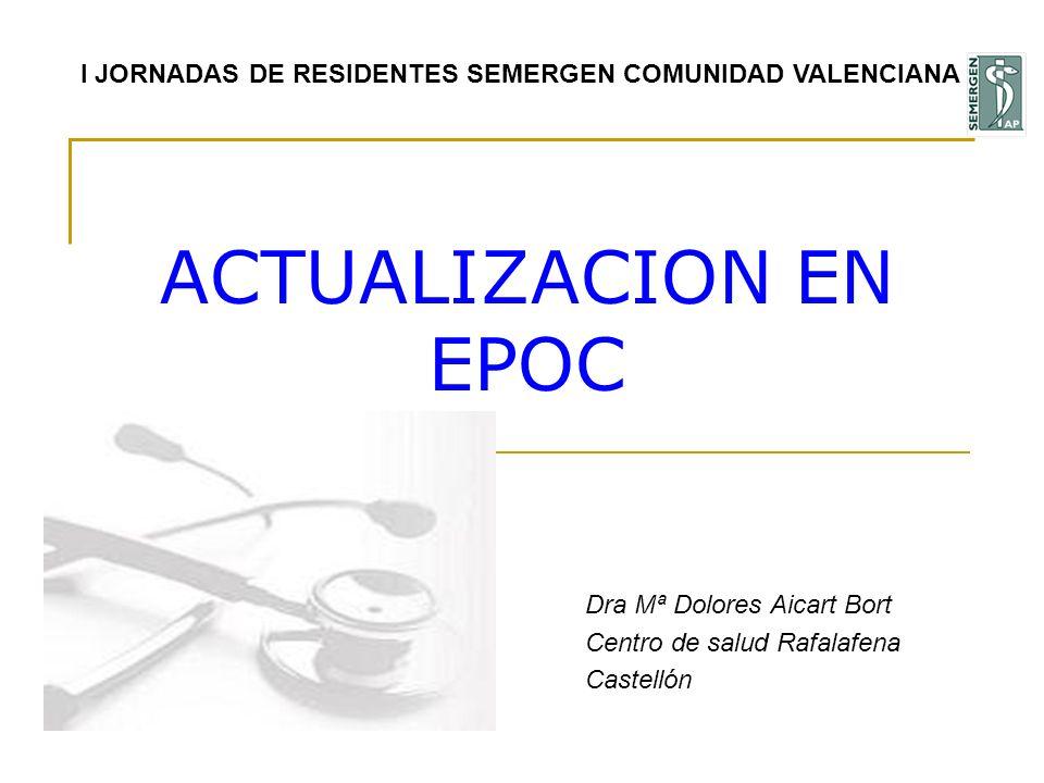 ACTUALIZACION EN EPOC Dra Mª Dolores Aicart Bort Centro de salud Rafalafena Castellón I JORNADAS DE RESIDENTES SEMERGEN COMUNIDAD VALENCIANA