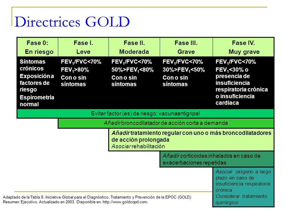 Directrices GOLD Adaptado de la Tabla 8. Iniciativa Global para el Diagnóstico, Tratamiento y Prevención de la EPOC (GOLD) Resumen Ejecutivo. Actualiz
