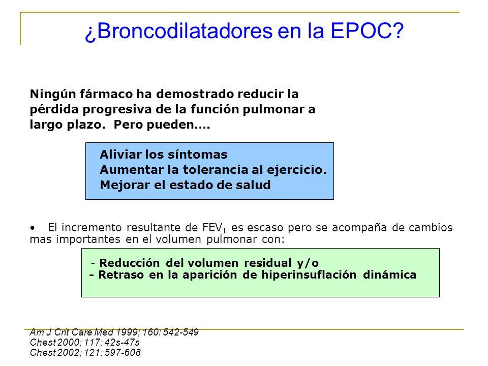 ¿Broncodilatadores en la EPOC? Ningún fármaco ha demostrado reducir la pérdida progresiva de la función pulmonar a largo plazo. Pero pueden…. Aliviar