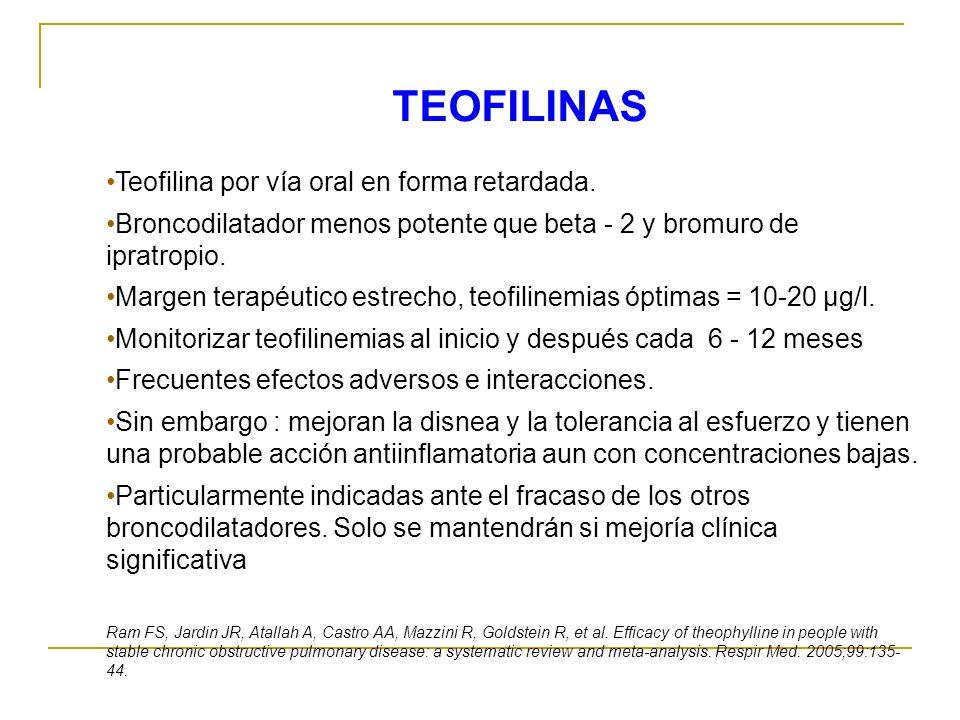 Teofilina por vía oral en forma retardada. Broncodilatador menos potente que beta - 2 y bromuro de ipratropio. Margen terapéutico estrecho, teofilinem