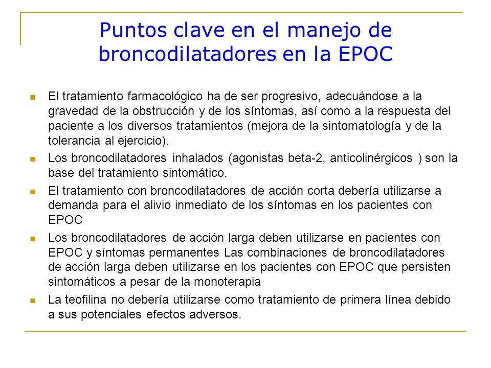 Puntos clave en el manejo de broncodilatadores en la EPOC El tratamiento farmacológico ha de ser progresivo, adecuándose a la gravedad de la obstrucci