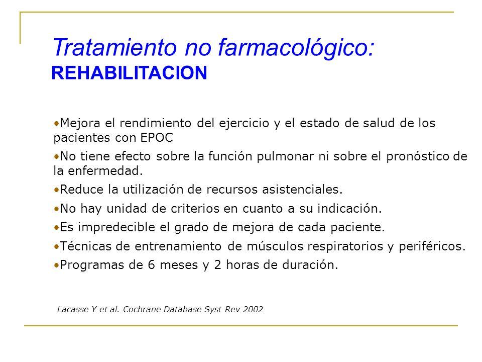 Mejora el rendimiento del ejercicio y el estado de salud de los pacientes con EPOC No tiene efecto sobre la función pulmonar ni sobre el pronóstico de