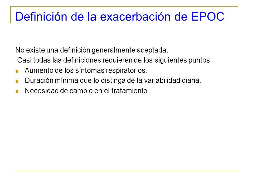 Definición de la exacerbación de EPOC No existe una definición generalmente aceptada. Casi todas las definiciones requieren de los siguientes puntos: