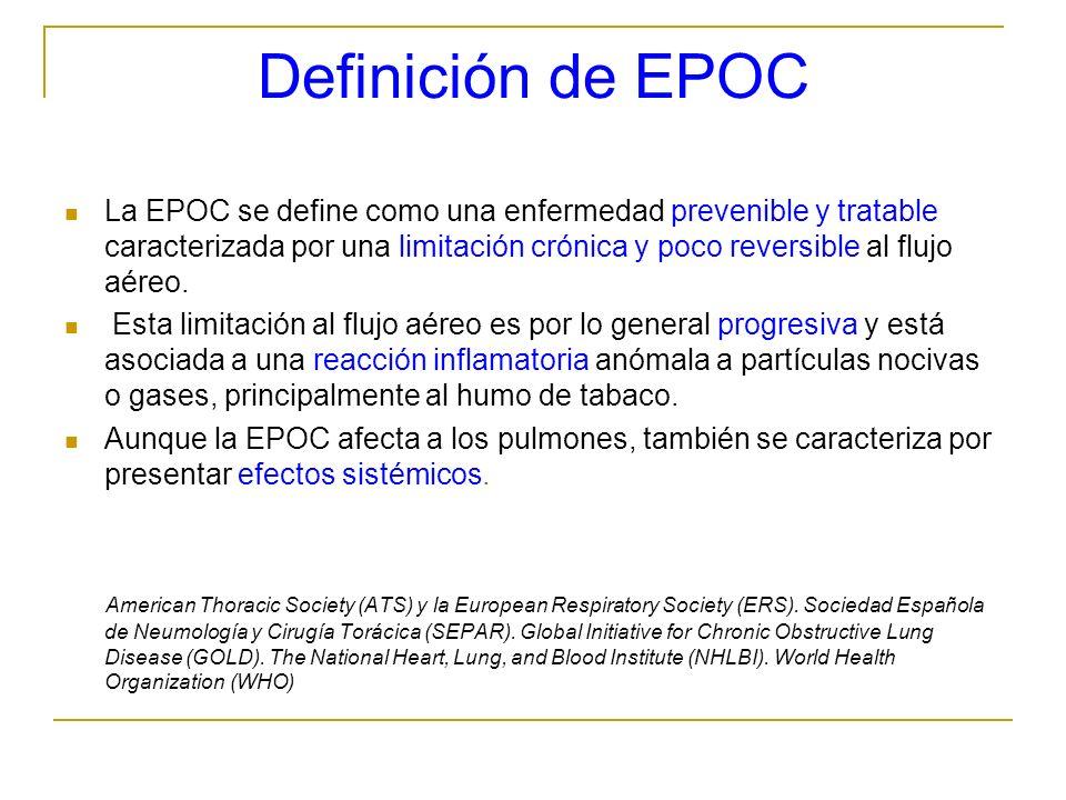 Definición de EPOC La EPOC se define como una enfermedad prevenible y tratable caracterizada por una limitación crónica y poco reversible al flujo aér