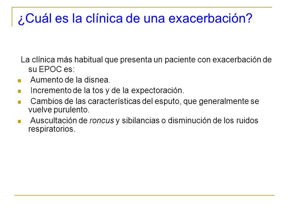 ¿Cuál es la clínica de una exacerbación? La clínica más habitual que presenta un paciente con exacerbación de su EPOC es: Aumento de la disnea. Increm